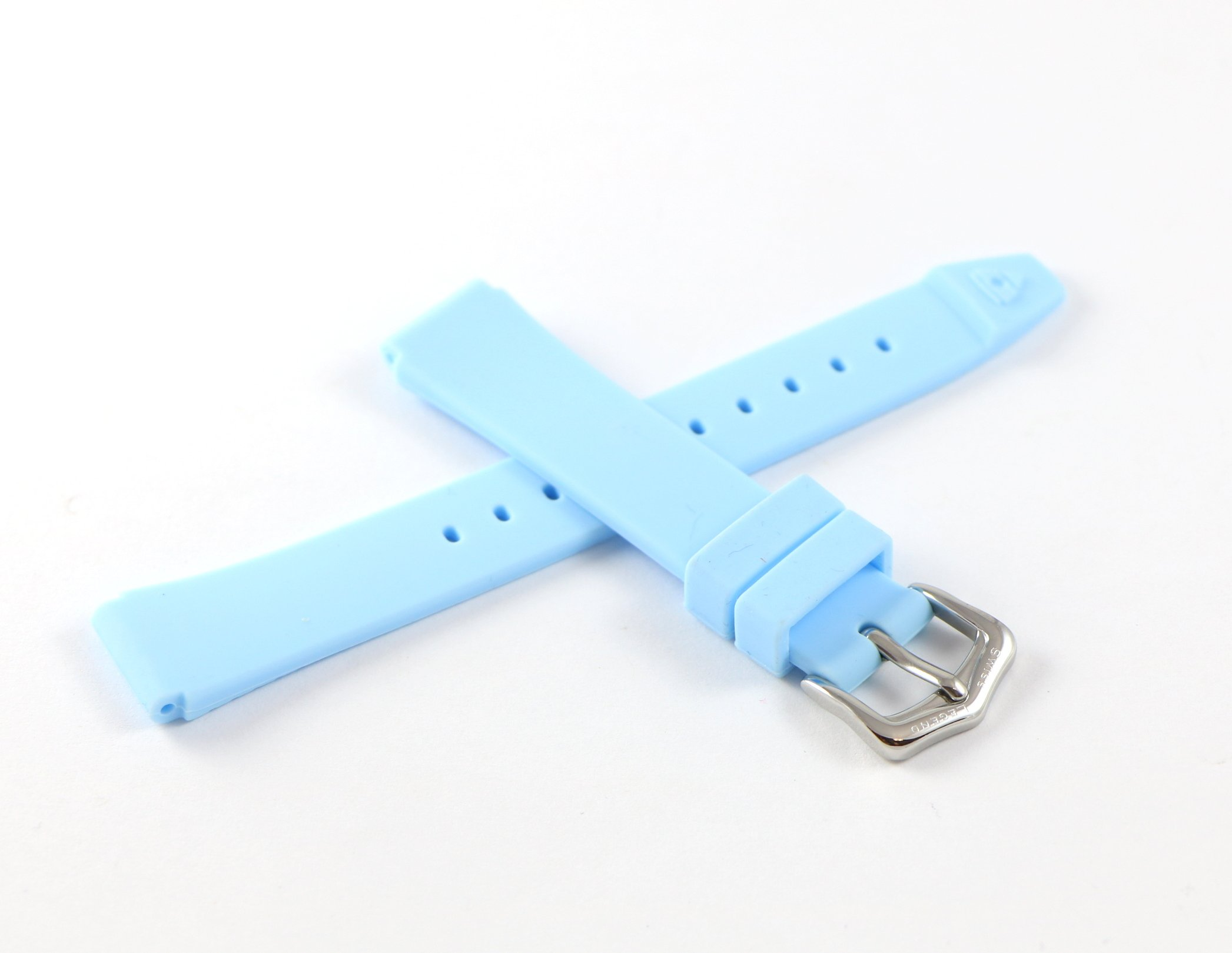 Swiss Legend 16MM Light Blue Rubber Watch Strap & Silver Stainless Buckle fits 35mm Love Connection Watch