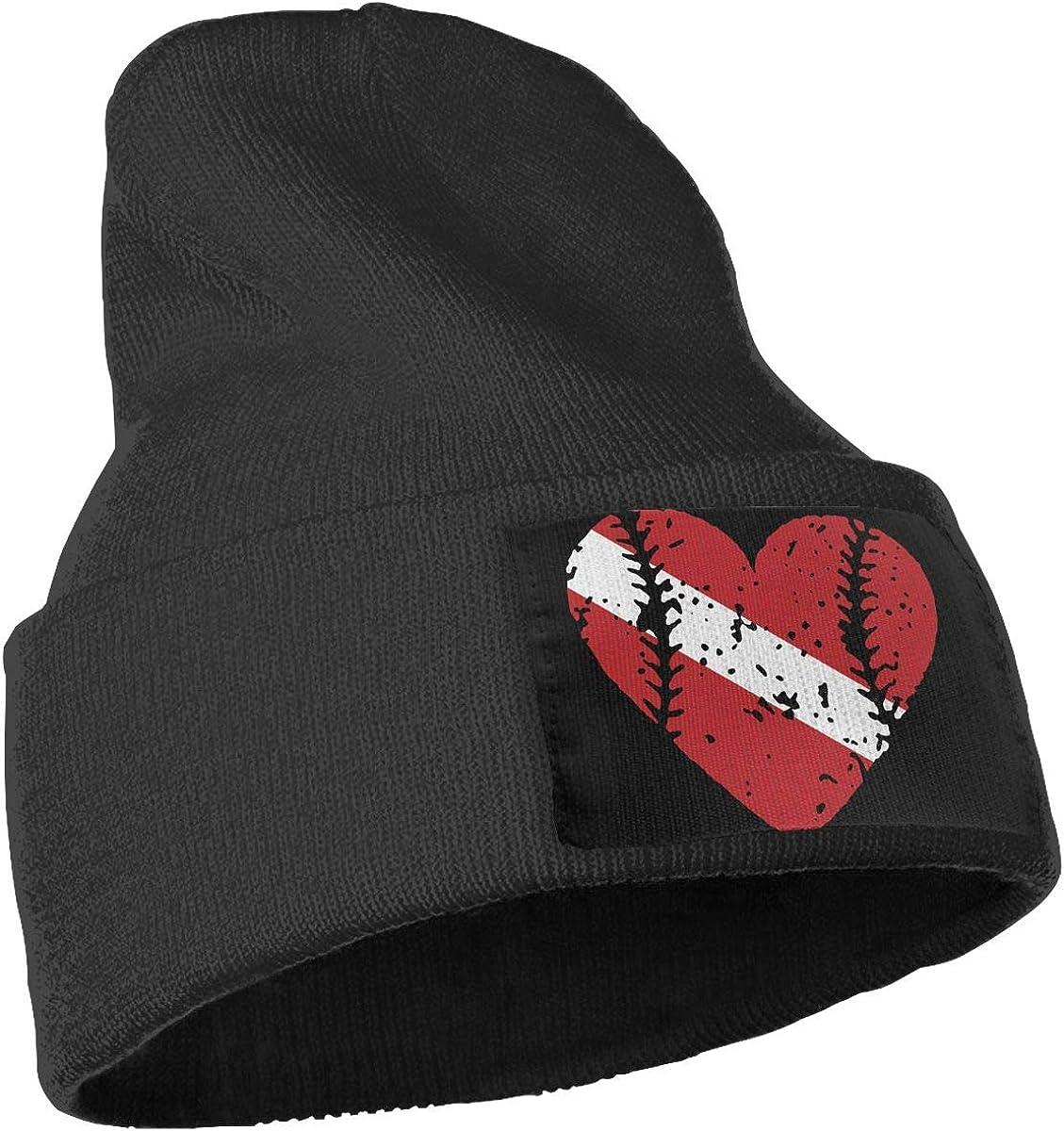 Baseball Heart Dive Flag Unisex Solid Color Knit Beanie Hat Stretchy /& Soft Winter Ski Skull Cap
