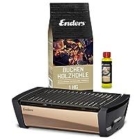 Aurora Mirror Tischgrill Enders schwarz kleiner Balkon Camping Picknick ✔ eckig ✔ tragbar rauchfrei ✔ Grillen mit Holzkohle ✔ für den Tisch