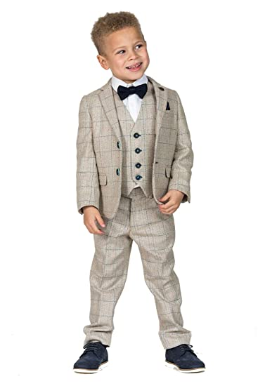 1e25afa5604d Marc Darcy Boys Tweed Suit, Cream Page Boy Wedding Suits Age 1-14 Years