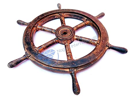 Amazon.com: Nautical Wooden Antique Vintage Captain\'s Ship Wheel ...