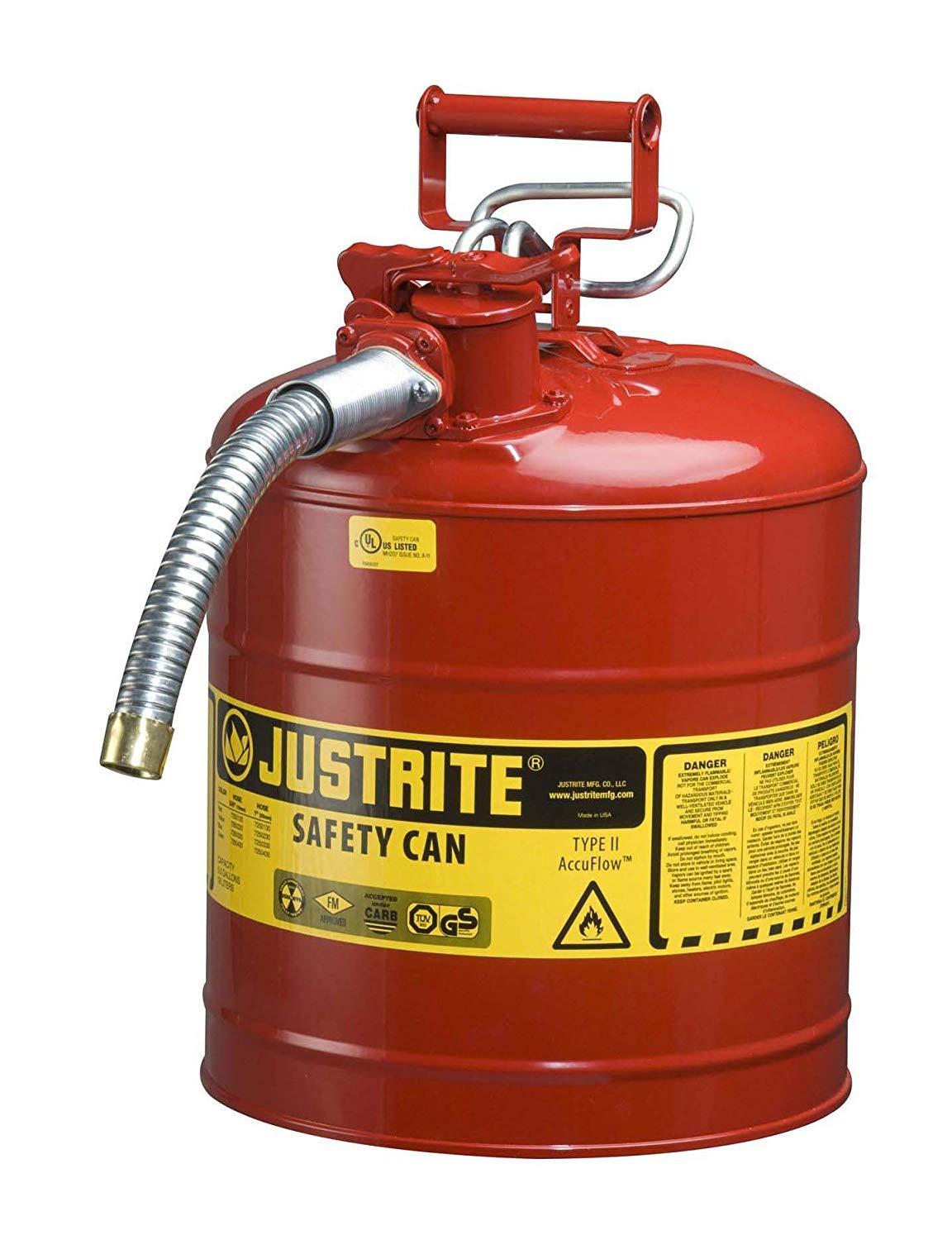 Justrite 7250130 Galvanized Steel, AccuFlow Type II Red Safety Can with 1'' Flexible Spout, Large ID Zone, Meets OSHA & NFPA for Handling Hazardous Liquids. 5 Gallon (19L) Size. (Pack of 3)