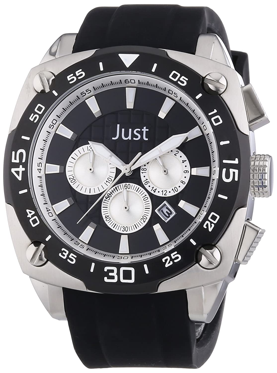 Just Watches Herren-Armbanduhr XL Analog Quarz Kautschuk 48-STG2373-BK