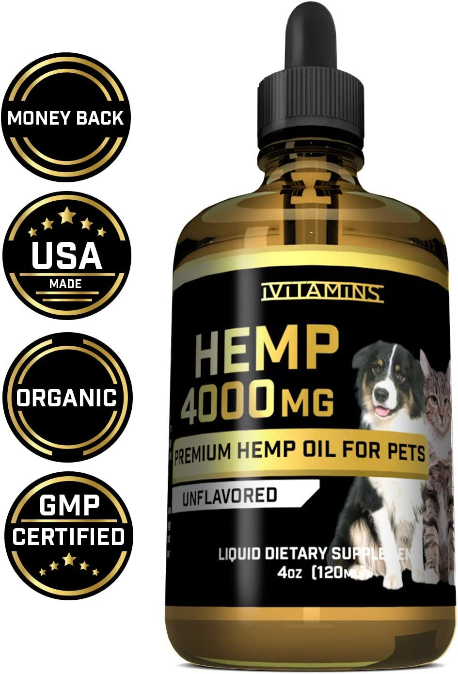 iVitamins Hemp Oil for Pets, Dogs, Cats : 4 fl oz : May Help with Separation Anxiety, Arthritis, Inflammation, Joints, Hips, and More : Hemp Seed Extract : Easily Apply to Treats