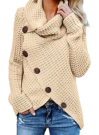 c05b2fa229 Image Unavailable. Image not available for. Color  Womens Sweaters Chunky  Cable Knit Turtle Cowl Neck Asymmetric Hem Wrap Sweater Pullover Tops Coat  Button