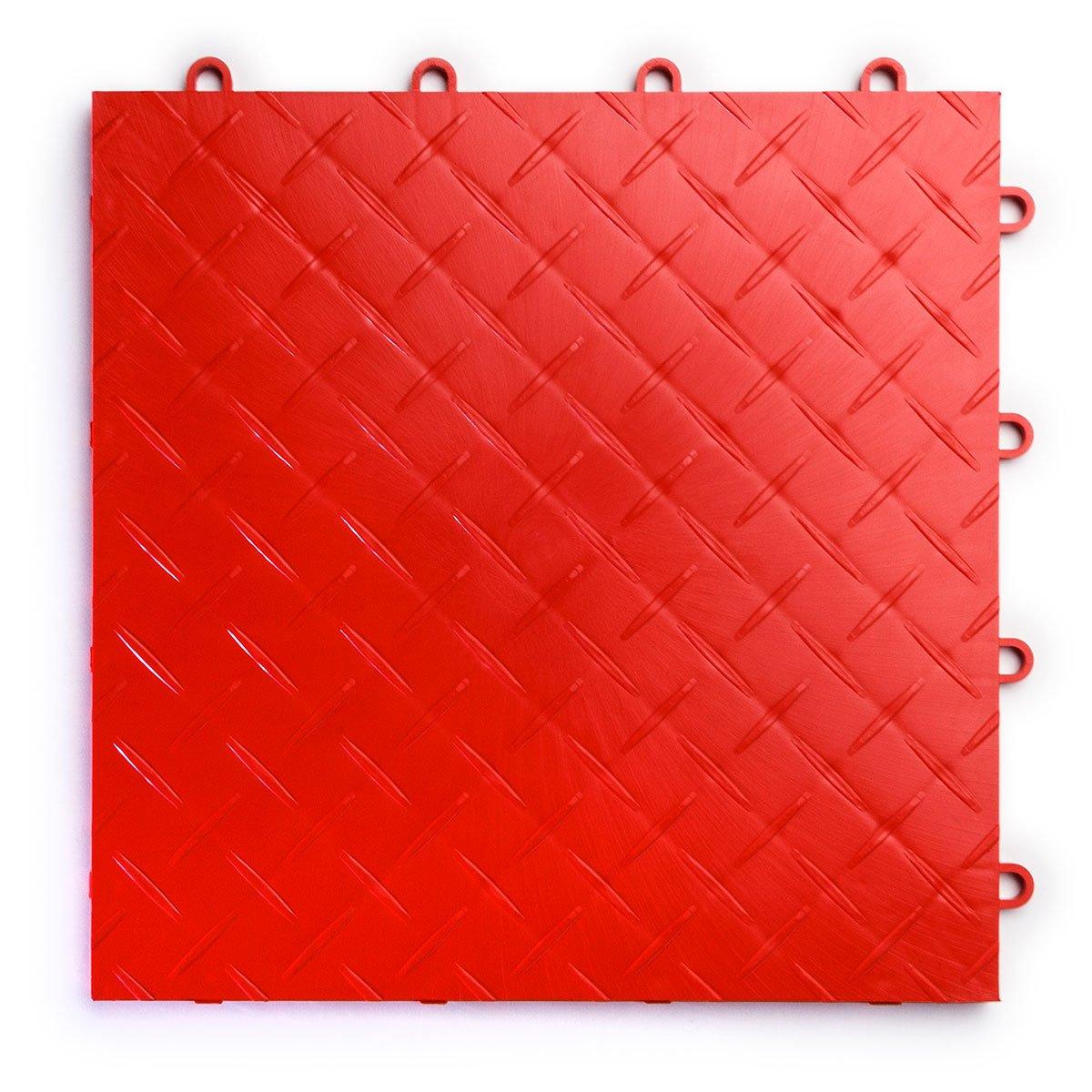RaceDeck RD48BRED Diamond Plate Interlocking Modular Garage Flooring Tiles Durable, 48 Pack, Red, Piece