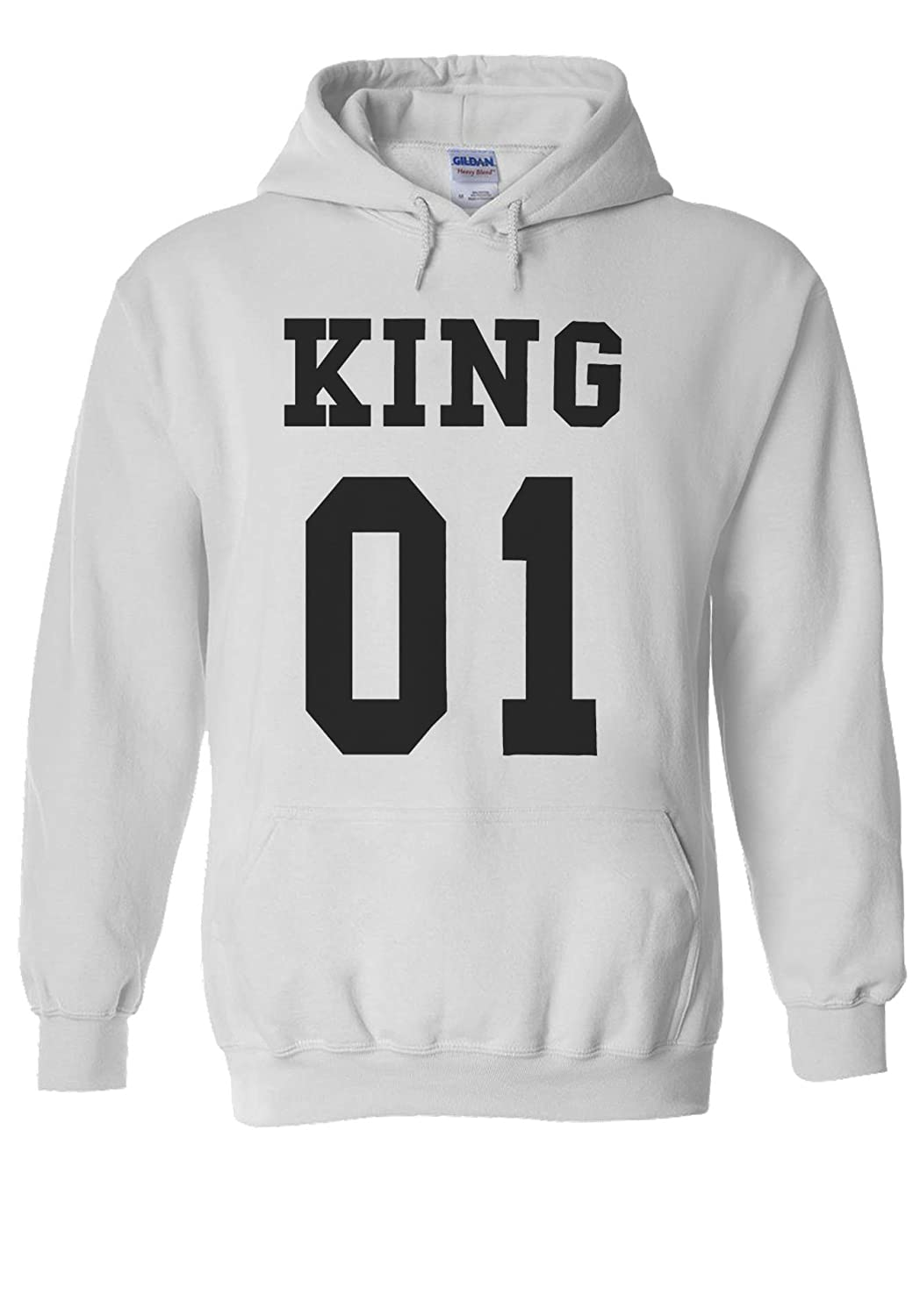 King Or Queen His And Hers Valentines Couple Novelty White Men Women Damen  Herren Unisex Hoodie Kapuzenpullover Verschiedene Farben: Amazon.de:  Bekleidung