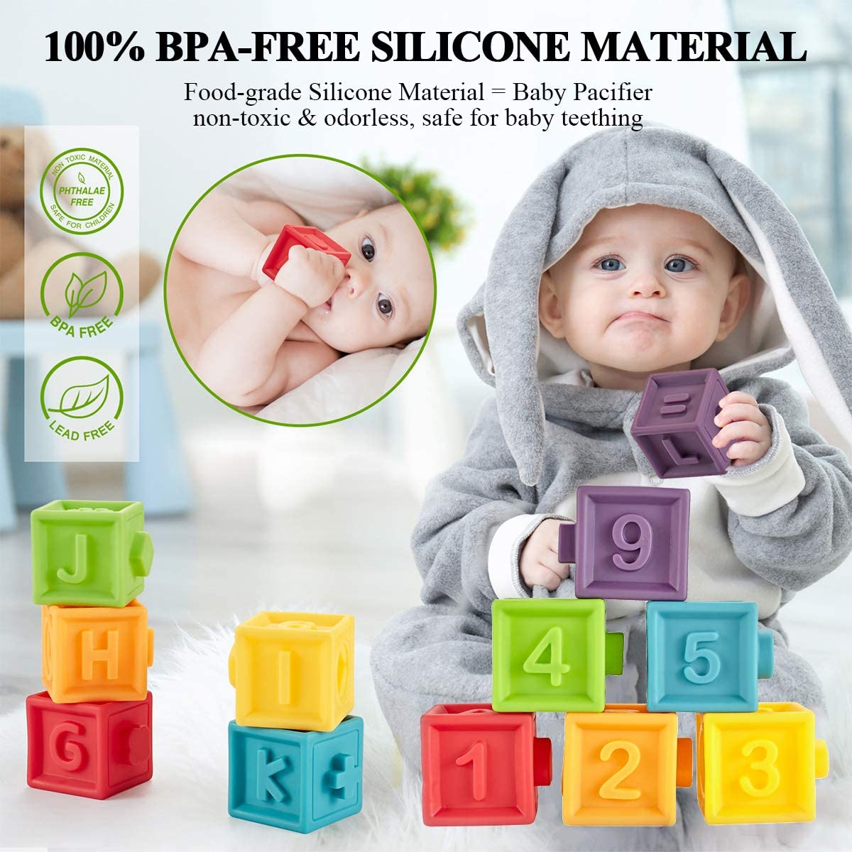 Squeeze Building Blocks for Toddlers Set of 12 Colorful Stacking Block Set Teething Chewing Early Educational Puzzle Toys for 6+ Months with Numbers Animals BPA-Free Kingtree Soft Baby Blocks