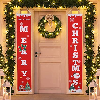 Indoor Christmas Decorations.Hmasyo Merry Christmas Banner Christmas Porch Fireplace Wall Signs Flag For Christmas Decorations Outdoor Indoor Christmas Banner Decoration Red Xmas