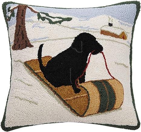 Peking Handicraft Black Labrador Retriever Santa Snow Wool Hooked Dog Throw Pillow 16 X 16 Home Kitchen