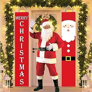 FANA Santa Banner,Santa Banner Front Porch,Nutcracker Christmas Decorations,Outdoor Xmas Decor - Life Santa Banner for Front Door Porch Garden Indoor Exterior Kids Party