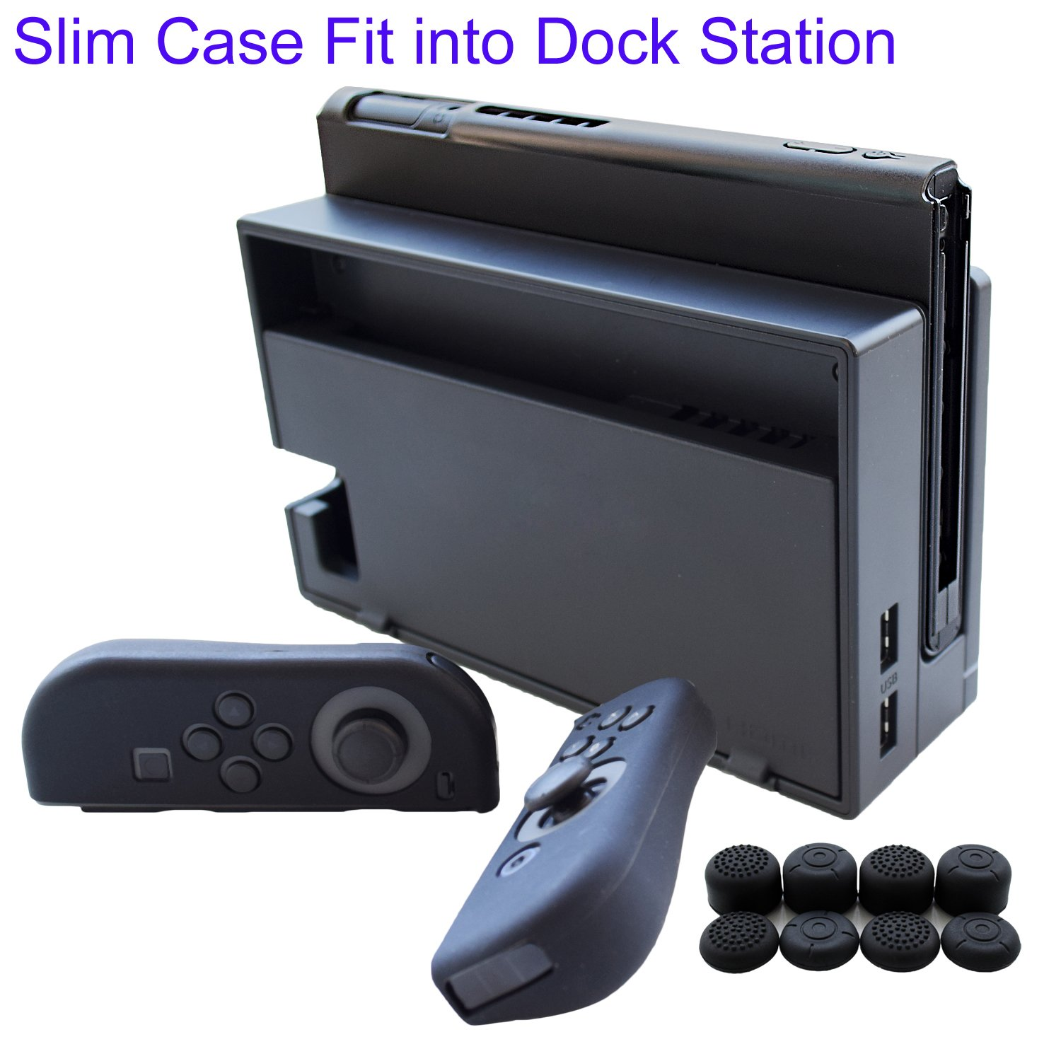Hikfly 3in1 Ultra Slim Docked PC Cover Case for Nintendo Switch(Transparent Black) & Silicone Covers (Black) for Joy-Con Controllers with 8pcs Thumb ...