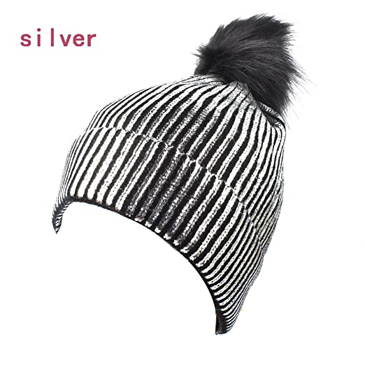 adb7c501fcc8f6 Women Knit Pom Pom Beanie with Bling Sparkle Girls Winter Fox Fur Slouchy  Hat (Silver