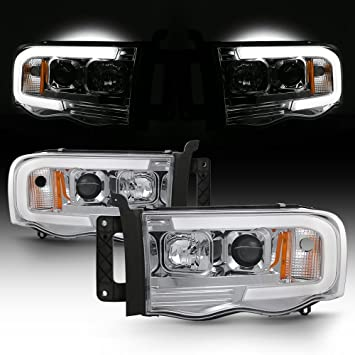 Amazon Com For 02 05 Dodge Ram 1500 03 05 2500 3500 Led Tube Projector Headlights Driver Passenger Pair Automotive