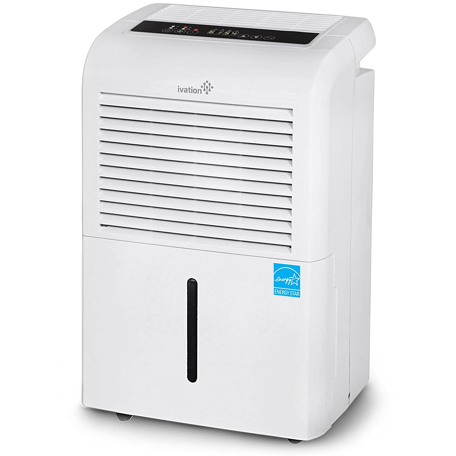 Ivation 70 Pint Energy Star Dehumidifier with Pump, Large Capacity Compressor for Spaces Up To 4,500 Sq Ft, Includes Programmable Humidity, Hose Connector, Auto Shutoff and Restart and Washable Filter IVADH70PWP2