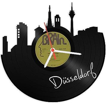Gravurzeile Skyline Düsseldorf Wanduhr Aus Vinyl Schallplattenuhr