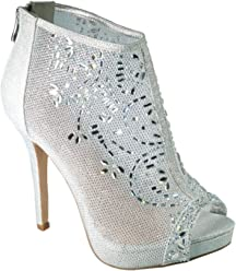 bc8915fb2547 De Blossom Collection Marna-85 Crystal Embellished High Heel Peep-Toe Prom  Dress Bootie