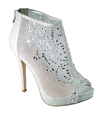 Amazon.com | De Blossom Collection Marna-85 Crystal Embellished Mesh ...