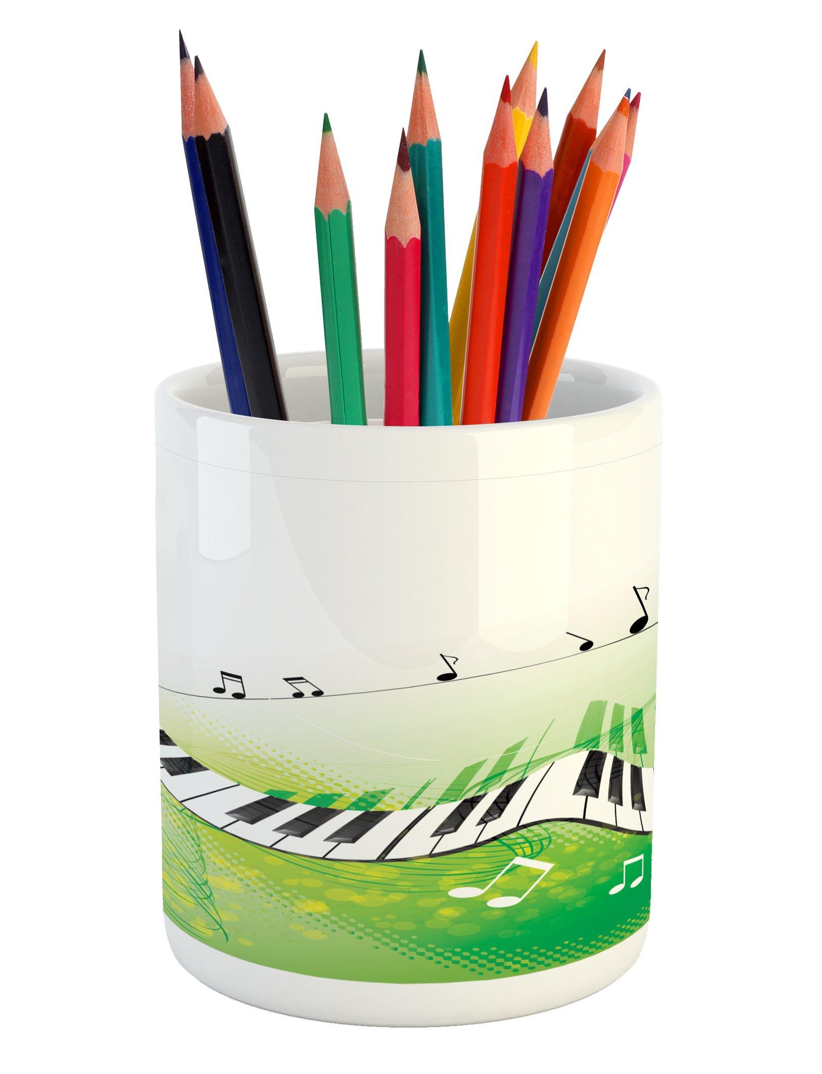 Ambesonne Music Pencil Pen Holder, Music Piano Keys Curvy Fingerboard Summertime Entertainment Flourish, Printed Ceramic Pencil Pen Holder for Desk Office Accessory, Lime Green Black White