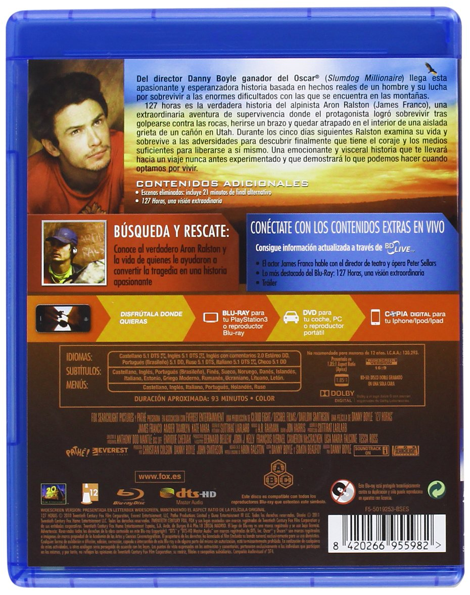 127 Horas Br Dvd Copia Digital Blu Ray Amazon Es James Franco Kate Mara Amber Tamblyn Clemence Poesy Treat Williams Kate Burton Lizzy Caplan Danny Boyle James Franco Kate Mara Cine Y