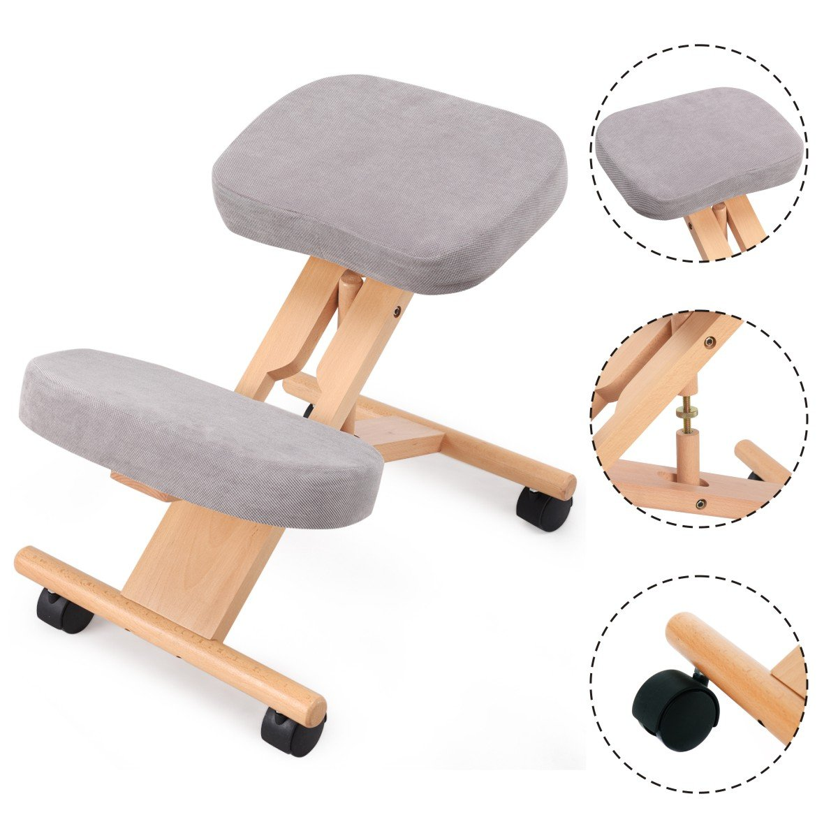 COSTWAY Ergonomic Kneeling Chair Wooden Orthopaedic Stool Posture Frame Seat Health Care (Grey)