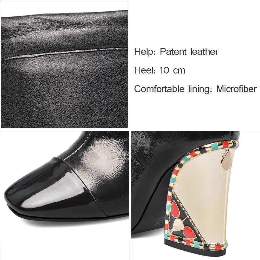 YQSHOES Chaussures En Cuir, Strass Colorés, Talons En Plaqué Or, Bottes Au Genou, Chaussures Pour Femmes Black