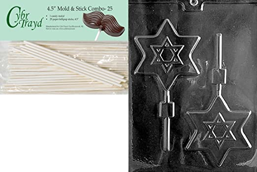 Cybrtrayd Dreidle Lolly Chocolate Candy Mold with 25 4.5-Inch Lollipop Sticks and Exclusive Cybrtrayd Copyrighted Chocolate Molding Instructions