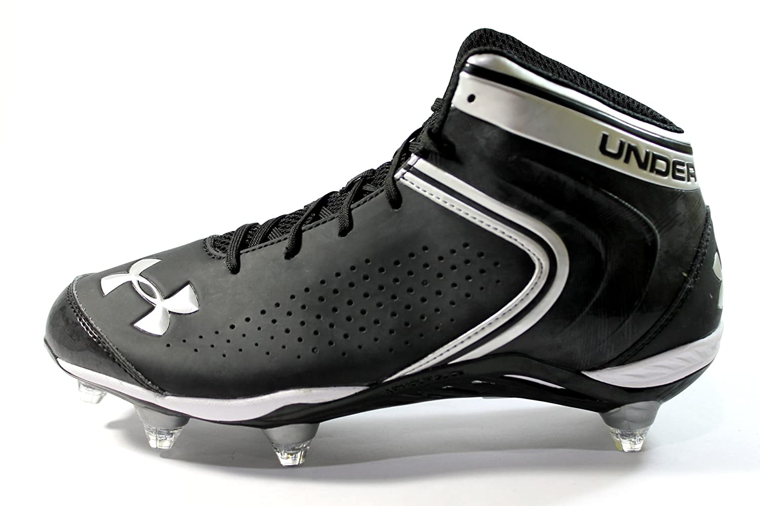 c15139617fa0 Amazon.com | Under Armour Men's Saber Mid D Black Football Cleats Wide  Width Size (11EE) | Football