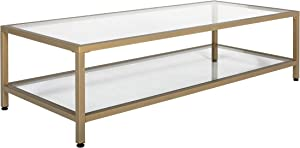 """Studio Designs Home Camber 2-Tier Modern 54"""" Wide Rectangle Coffee Table in Gold/Clear Glass"""