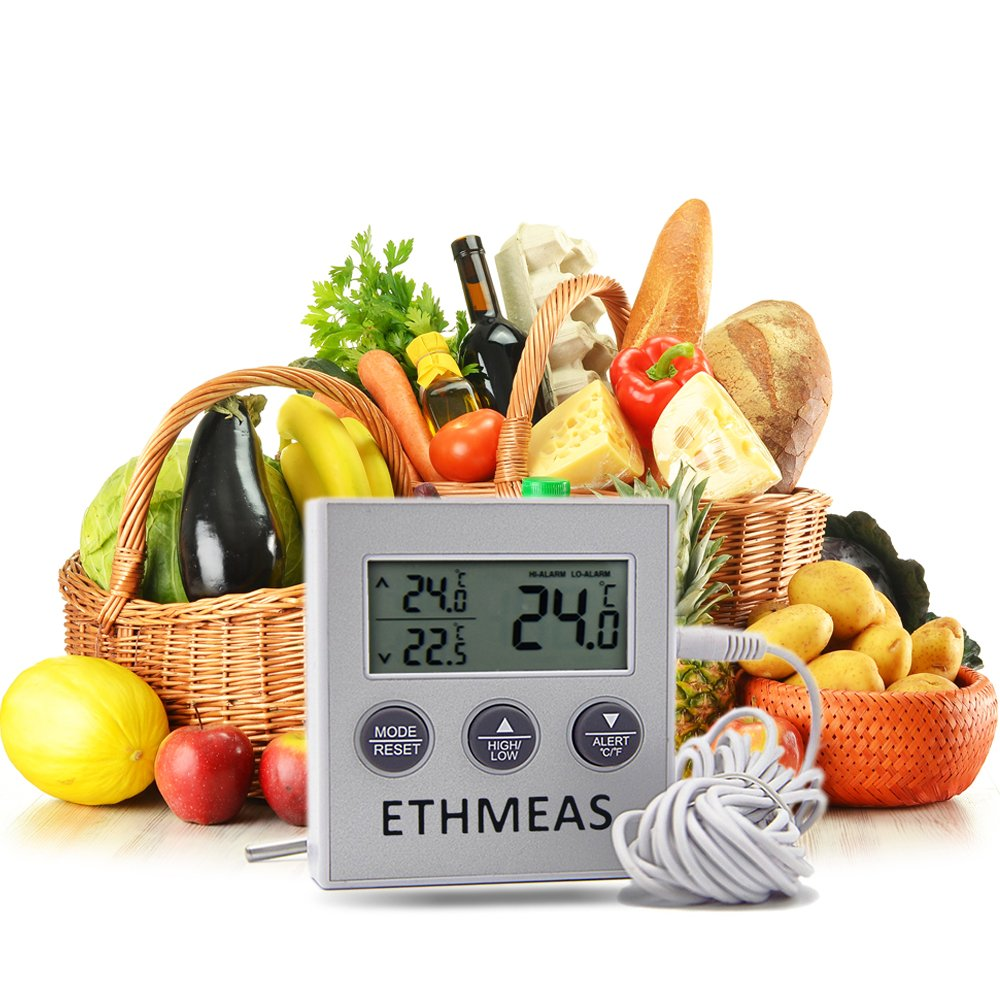ETHMEAS Digital Refrigerator//Freezer//Fridge Thermometer Easy Readout Fridge Thermometer with Large LCD Display High Low Temperature Memory /& Alarm Function kitchen assistant