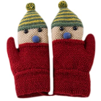Amazon Aisa Children Kids Knitted Gloves Cartoon Christmas