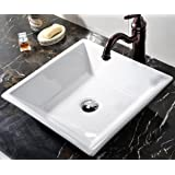 VCCUCINE White Square Above Counter Porcelain Ceramic Vessel Vanity Bathroom Sink Art Basin