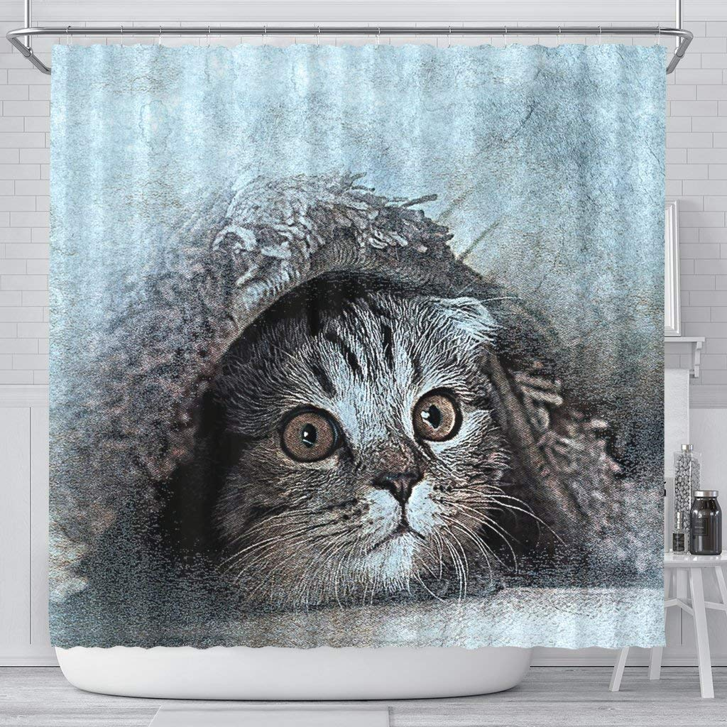 Pawick Lovely Cat Art Print Shower Curtains