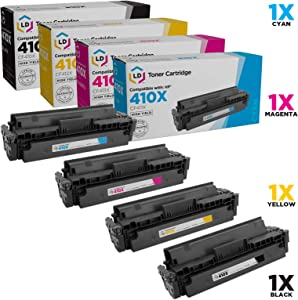 LD Compatible Toner Cartridge Replacements for HP 410X High Yield (1 Black, 1 Cyan, 1 Magenta, 1 Yellow, 4-Pack)