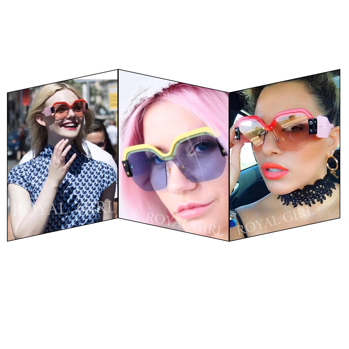6b831fe2f8ce ROYAL GIRL Semi Rimless Sunglasses for Women Trendy Candy Colorful Designer  Half Frame Fashion Shades (Pink-Red, 57): Amazon.ca: Clothing & Accessories