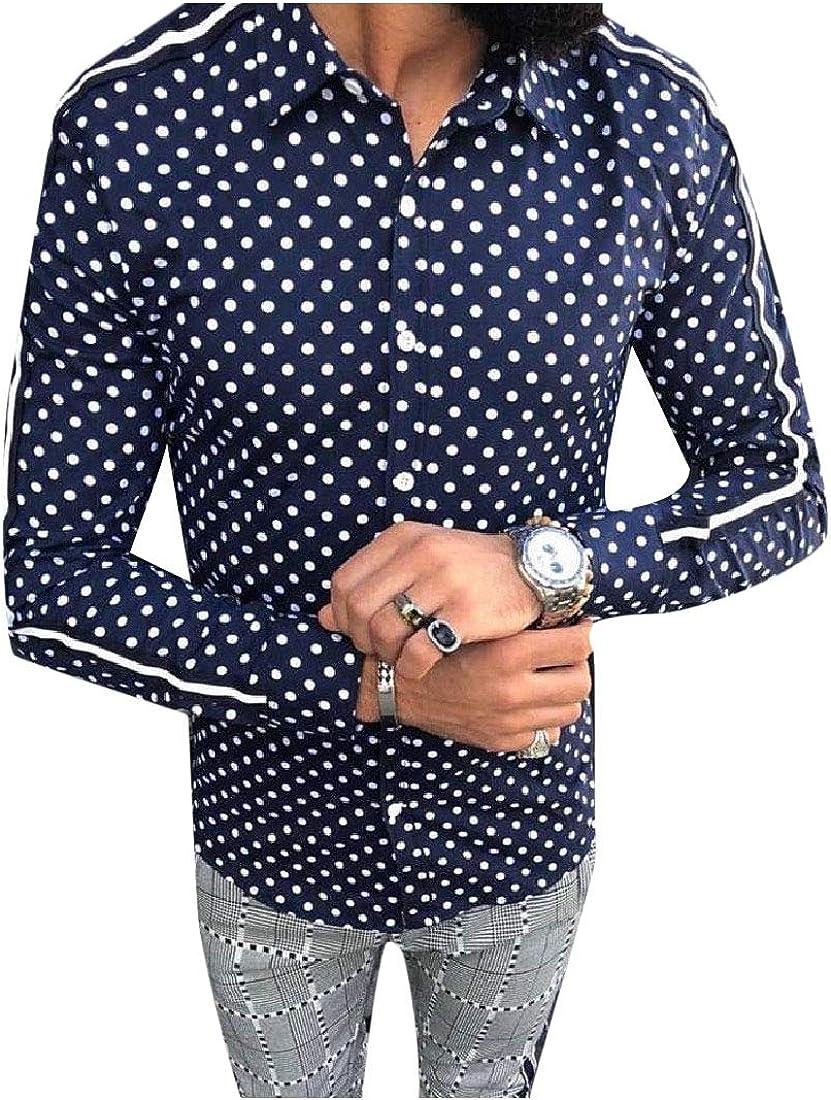 RDHOPE-Men Long-Sleeve Button Down Polka Dot Lapel Western Shirt