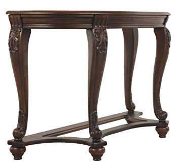 Awe Inspiring Ashley Furniture Signature Design Norcastle Glass Top Sofa Table Semi Circle Dark Brown Interior Design Ideas Inesswwsoteloinfo