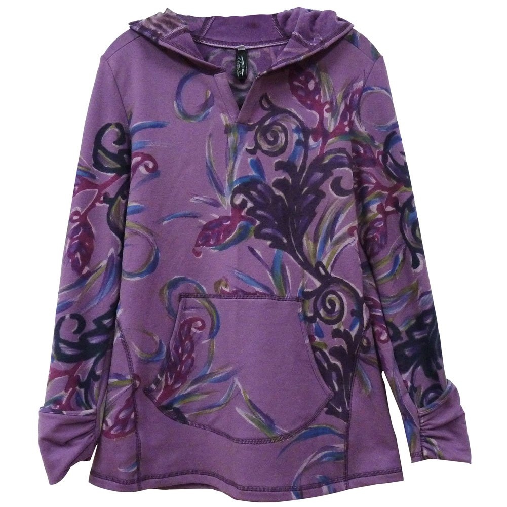 Women's Hand-Painted Hooded Pullover Sweatshirt - Small