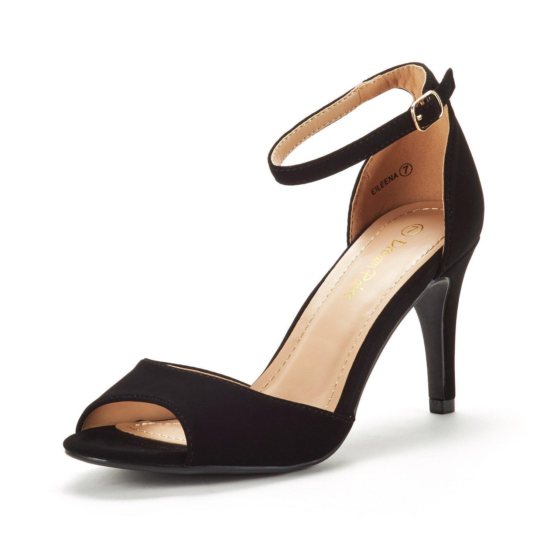 DREAM PAIRS Women's EILEENA Black Nubuck Fashion Stilettos Peep Toe Pump Heeled Sandals Size 10 B(M) US