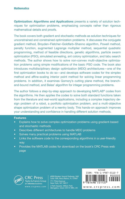 Optimization: Algorithms and Applications: Rajesh Kumar