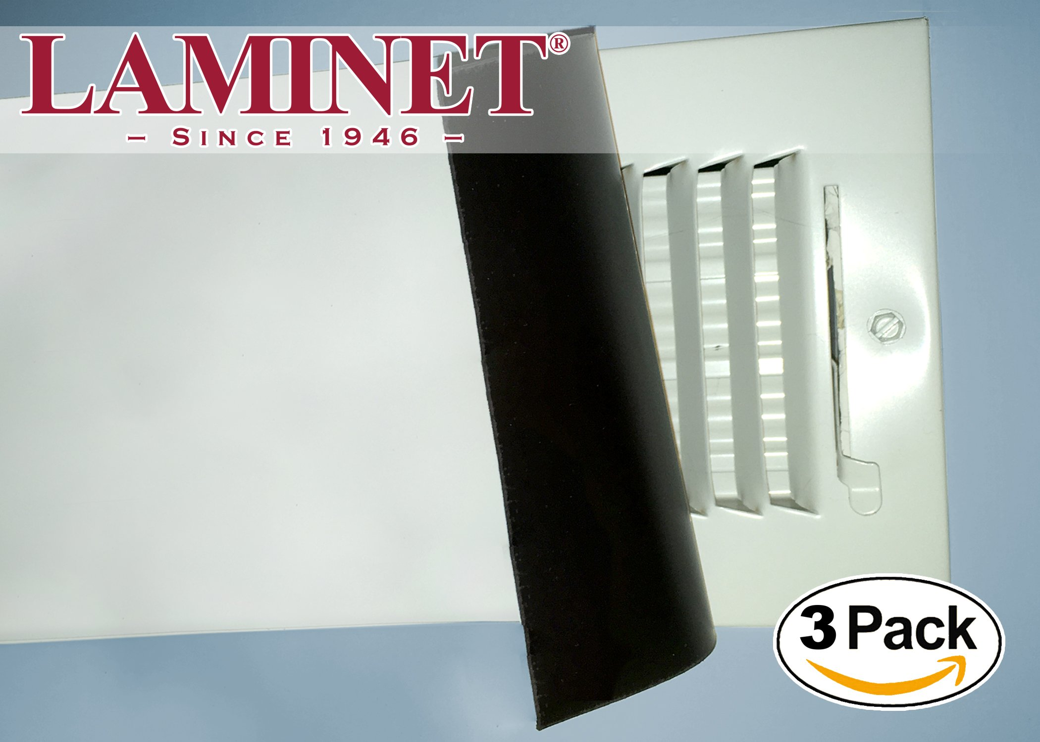 LAMINET Thick White Magnetic Floor Vent Covers - Made in USA - Industrial Strength Magnet for Floor Air Registers - Even ON Ceiling Vents & Hard to Access Areas - 8'' x 14.5'' - 3-Pack