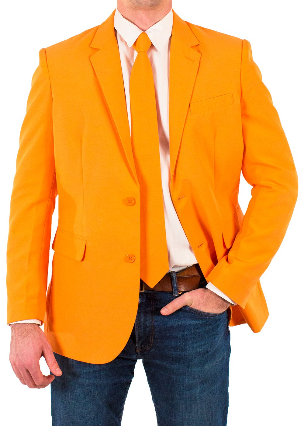 Festified Men's Classic Party Suit Coat and Tie In Orange (42)