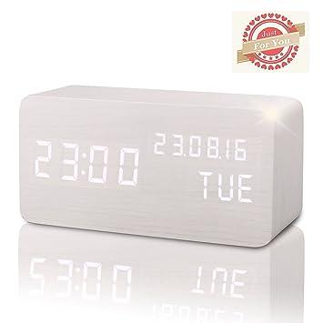 Reloj Digital Despertador Madera de Haya con Control de Sonido y LED Brillo de la Pantalla (Blanco 1): Amazon.es: Hogar