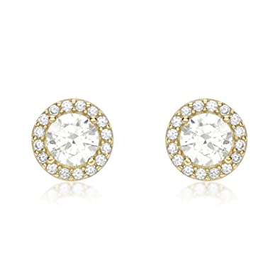 Carissima Gold Women's 9 ct White Gold Cubic Zirconia Halo Stud Earrings SMAayL