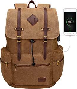 Modoker Canvas Laptop Rucksack Backpack Vintage Leather Bookbags for Men Women Durable Laptops Travel Rucksack with USB Charging Port College School Bag Fashion Vegan Daypack Brown 17""