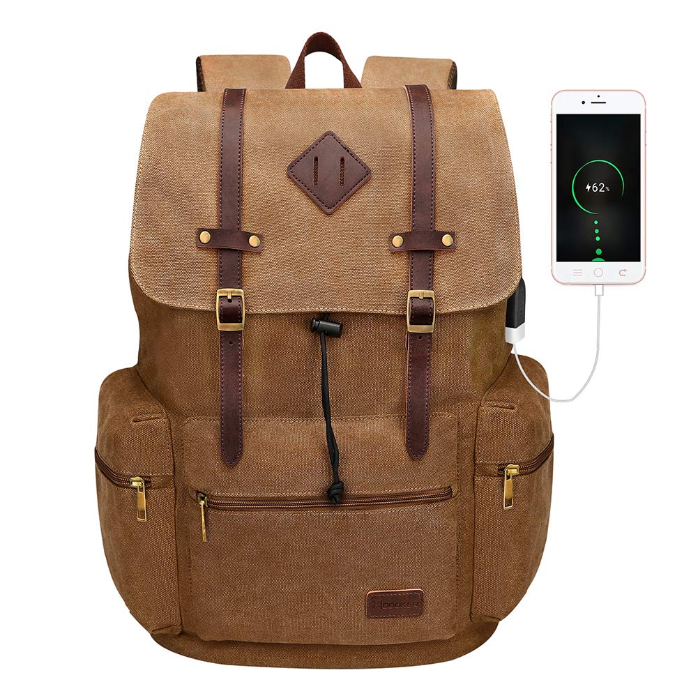 Modoker Canvas Leather Rucksack Backpack Vintage Laptop Bookbag for Men Women, Brown Travel Laptop Backpack with USB Charging Port College School Computer Bag Vegan Daypack