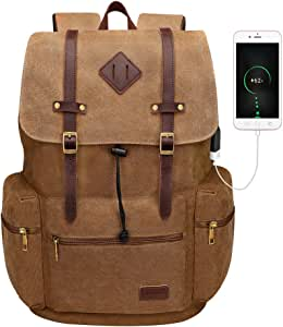 "Modoker Canvas Laptop Rucksack Backpack Vintage Leather Bookbag for Mens Womens, Durable Travel Laptops Backpack School College Bag with USB Charging Port Fashion Brown Vegan Daypack 17"""