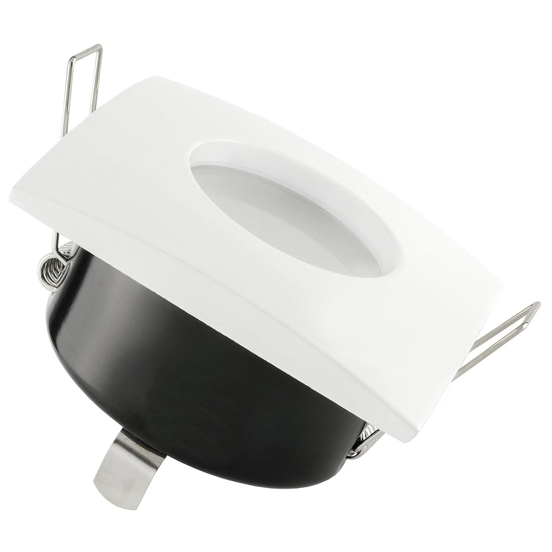 inkl LED GU10 Leuchtmittel 5W 230V warmwei/ß RW-1 LED Einbaustrahler Bad IP65 rund Einbauspot Deckenspot Chrom gl/änzend