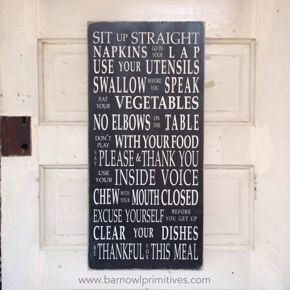 Table Manners Dinner Rules Wooden Painted Sign Typography Word Art in Black