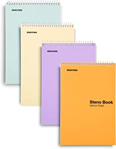 Mintra Office Steno Book - 6x9 - Pastel Colors 4 Pads/Pack Narrow Ruled-Paper (Assorted Color Covers) 70 Sheets - - Notebook for writing notes in school, university, college, work, office